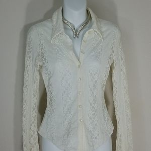 Bebe shirt top blouse white lace long Bell sleeve